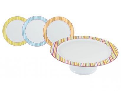 Jogo de Sobremesa Porcelana 7 Peças Schmidt - Malu