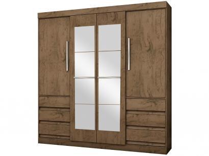 Guarda-roupa Casal com Espelho 4 Portas - 6 Gavetas Araplac Sofia