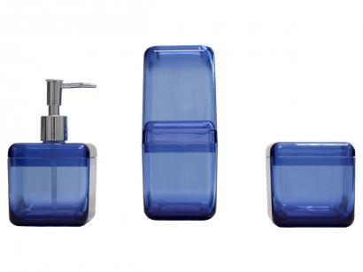 Kit para Banheiro 3 Peças Azul e Inox Coza - Cube 99216/4461