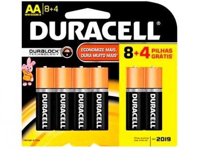 Pilha Duracell Alcalina Tipo AA - 12 unidades