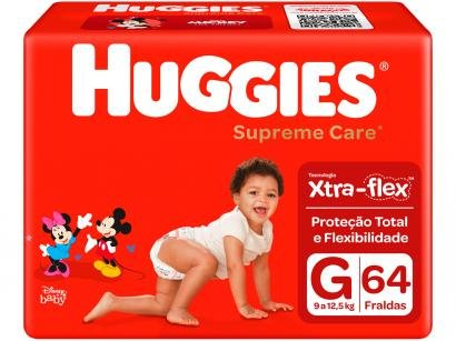 Fraldas Huggies Supreme Care Tam G 9 a 12,5kg - 64 Unidades