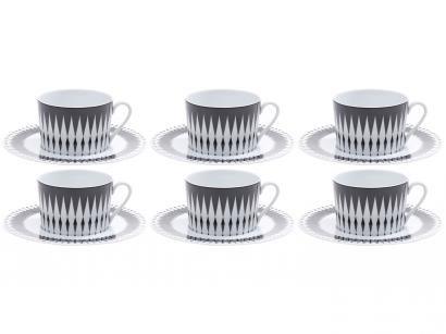 Jogo de Xícaras para Café Porcelana 6 Peças - Wolff Limoges Alchime Noire