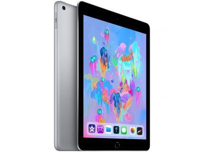 "iPad 6 Apple 4G 128GB Cinza Espacial Tela 9.7"" - Retina Proc. Chip A10 Câm. 8MP + Frontal iOS 11"