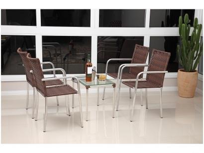 Conjunto de Mesa para Jardim/Área Externa Alumínio - com 4 Cadeiras Alegro Móveis Flora