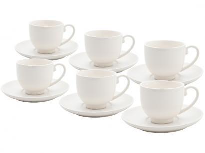 Jogo de Xícaras de Café Porcelana 6 Peças - Bon Gourmet 30380