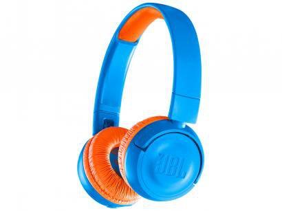 Headphone/Fone de Ouvido Bluetooth JBL - com Microfone Infantil Azul e Laranja JR300BT