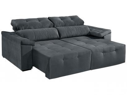 Sofá Retrátil e Reclinável 4 Lugares Suede - Reta Moderna Davero American Comfort