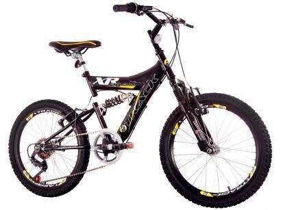Bicicleta Infantil Aro 20 Track  Bikes XR-20 - 6 Marchas Preta e Amarela Freio V-Brake