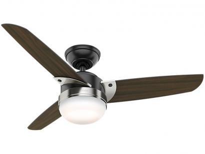 Ventilador de Teto Hunter Nova 3 Pás 3 Velocidades - Preto Fosco e Nogueira Escura para 2 Lâmpadas