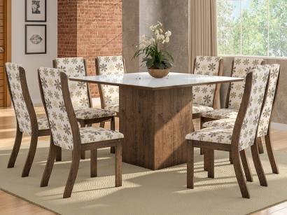 Mesa de Jantar 8 Cadeiras Quadrada Viero Móveis - Dexter