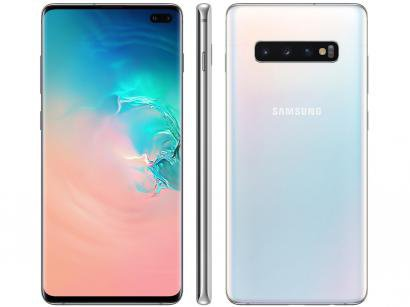 "Smartphone Samsung Galaxy S10+ 128GB Branco 4G - 8GB RAM Tela 6,4"" Câm. Tripla + Câm. Selfie Dupla"