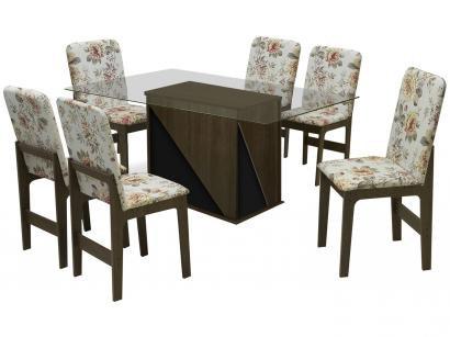 Mesa de Jantar com 06 Cadeiras Retangular - Tampo de Vidro Dobuê Movelaria Itália
