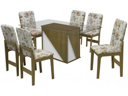 Mesa de Jantar 06 Cadeiras Retangular  - Tampo de Vidro Dobuê Movelaria Itália