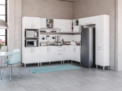 Cozinha Completa Politorno Floripa com Balcão - Nicho para Micro-ondas 19 Portas 3 Gavetas