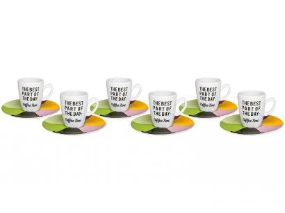 Jogo de Xícaras de Café Porcelana 75ml - Oxford Coffee Time 6 Peças