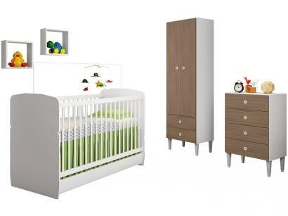 Quarto de Bebê Completo com Berço Guarda-Roupa - e Cômoda Art In Móveis Meu Fofinho Docinho