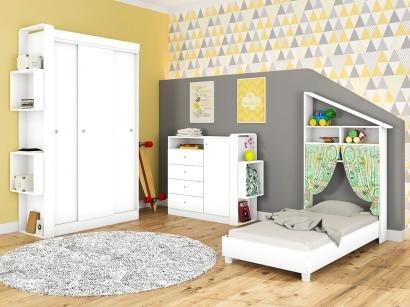 Quarto Infantil Completo com Mini Cama  - Guarda-roupa Cômoda Art In Móveis Doce Cheiro