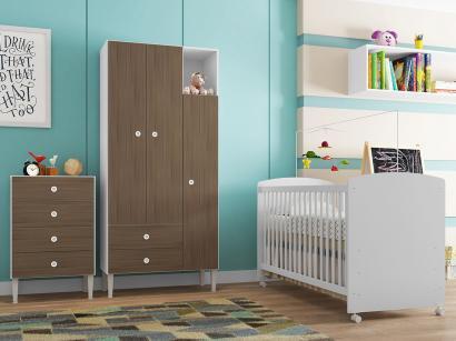 Quarto de Bebê Completo com Berço Guarda-Roupa - e Cômoda Art In Móveis Aconchego