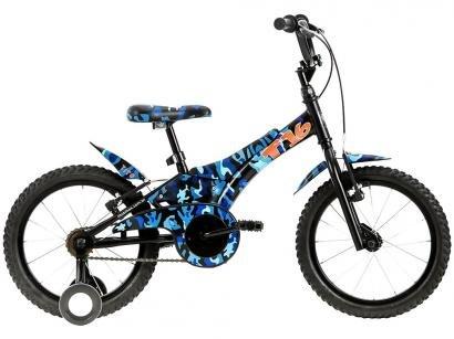 """Bicicleta Infantil Aro 16"""" Groove Camuflada Azul - com Rodinhas Freio V-Break"""