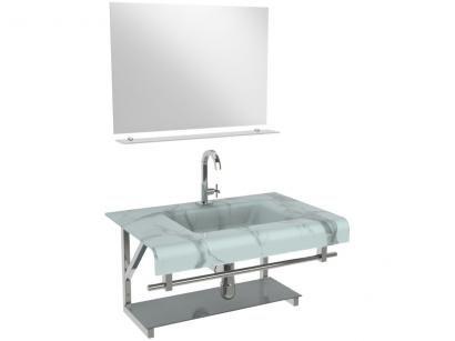 Gabinete para Banheiro de Vidro com Cuba e Espelho - VB Cristais VB2011/70MBR
