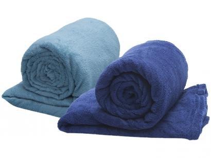 Kit com 2 Mantas Queen Size Microfibra - Camesa Azul Marinho + Azul Piscina
