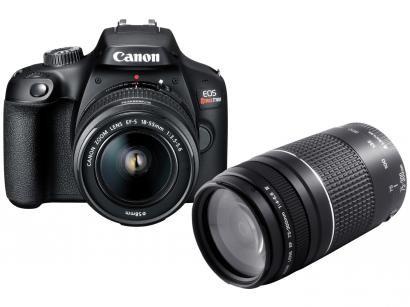 Câmera Digital Canon Semiprofissional - EOS Rebel T100 + Lente Zoom Telefoto 75-300mm