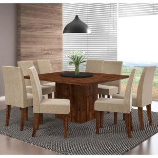 Conjunto de Mesa Armonia com 8 cadeiras - Rústico Malbec - Dj Móveis