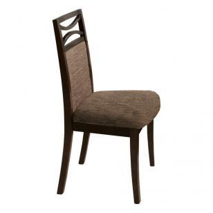 Cadeira Turin Estofada com Acabamento Fino em PU e Madeira Maciça Lyptus - Capuccino - Seiva