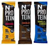 6 barras NProtein - Nutrimental - Banana, Baunilha  Cookies e Chocolate -