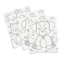 8 Folhas Para Colorir Infantil Cachorrinhos 23,5X16Cm - Cromus