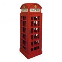 Adega Madeira Telephone Cabin Baixa 120X44X44 Vermelho Oldway - Oldway