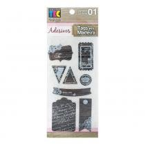 Adesivo Tags em Madeira Manuscrito AD1605 - Toke e Crie - Toke e Crie