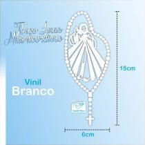 Adesivo Terço Jesus Divina Misericórdia Grande - Vinil Branco - Canção nova