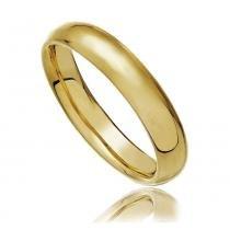 Aliança Abaulada em Aço Inox Dourado - Lunozê
