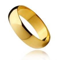 Aliança Abaulada Média em Aço Inox Dourado - Lunozê