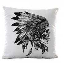 3f16b2133d9b6 Almofada branca skull apache - Criatics