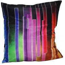 Almofada Impressão Digital Abstrato Faixas Colorido 42x42 cm Uniart - Abstrato Faixas Colorido - Uniart