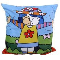 Almofada Impressão Digital Menina Pop-Art Colorido 42x42 cm - Uniart - Menina Pop-Art Colorido - Uniart