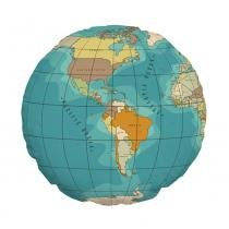 Almofada Redonda Mapa Mundi - Colorido - Kathavento Presentes