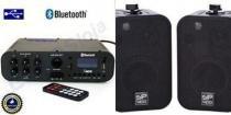 Amplificador ab100bt nca ( bluetooth ) + 1 par caixa sp400 preta - Nca