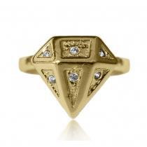 Anel em Formato de Diamante Adornado por Microzircônias Folheado a Ouro 18k - Lunozê