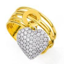 Anel em Ouro 18k Coração Pendurado com Zircônias an31490 KT - 17 - Joiasgold