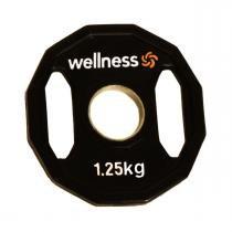 Anilha Emborrachada Furação Standard 12 Faces com Pegada 1,25kg Wellness -