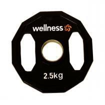 Anilha Emborrachada Furação Standard 12 Faces com Pegada 2,50kg Wellness - Wellness