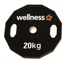 Anilha Emborrachada Furação Standard 12 Faces com Pegada 20,00kg Wellness - Wellness