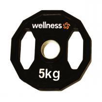 Anilha Emborrachada Furação Standard 12 Faces com Pegada 5,00kg Wellness -