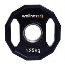 Anilha Poliuretano Furação Olímpica 12 Faces com Pegada 1,25kg Wellness -