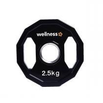 Anilha Poliuretano Furação Olímpica 12 Faces com Pegada 2,50kg Wellness - Wellness