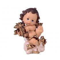 Anjinho de Resina com Arpa 12.5cm Angelical  Santini Christmas -