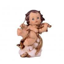 Anjinho de Resina com Violino 10cm Angelical  Santini Christmas -